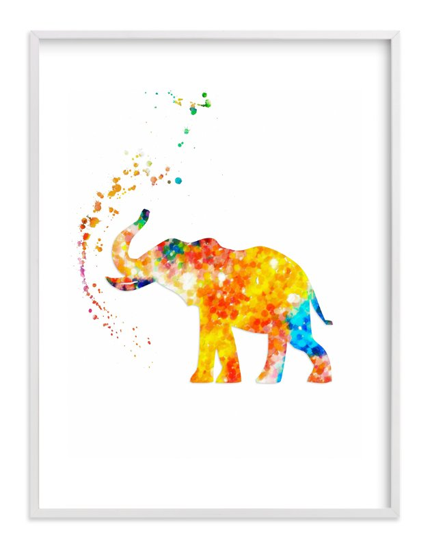 """""""Good Luck Baby Elephant"""" - Art Print by Alex Isaacs Designs in beautiful frame options and a variety of sizes."""