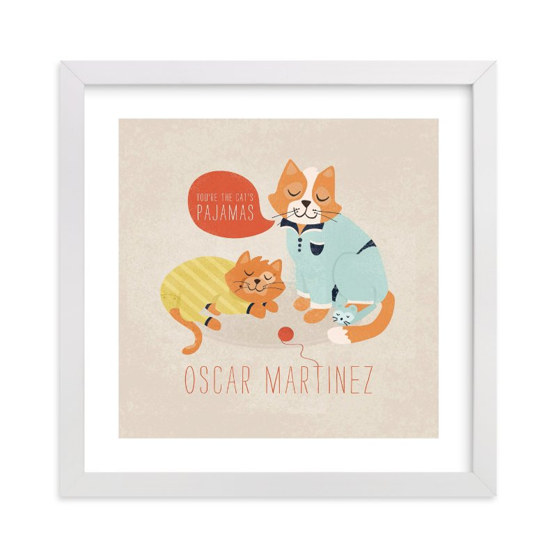 """""""The Cat's Pajamas"""" - Nursery Custom Art Print by Pistols in beautiful frame options and a variety of sizes."""