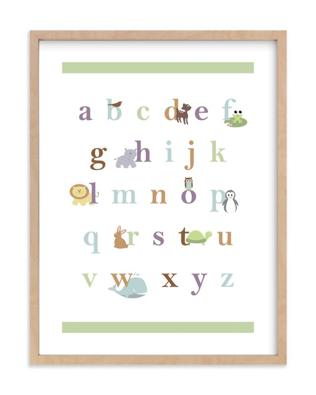 """Baby Animal Alphabet"" - Limited Edition Art Print by BitsyCreations in beautiful frame options and a variety of sizes."