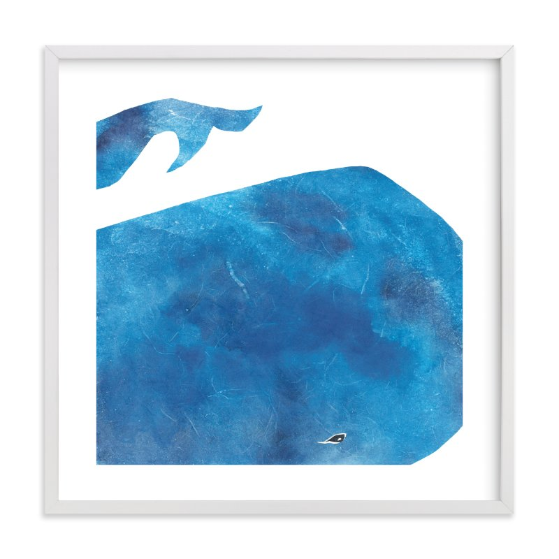 """Big Blue Whale"" - Limited Edition Art Print by Mia Posada in beautiful frame options and a variety of sizes."