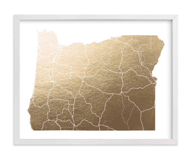 """Oregon Map"" - Foil-pressed Art Print by GeekInk Design in beautiful frame options and a variety of sizes."