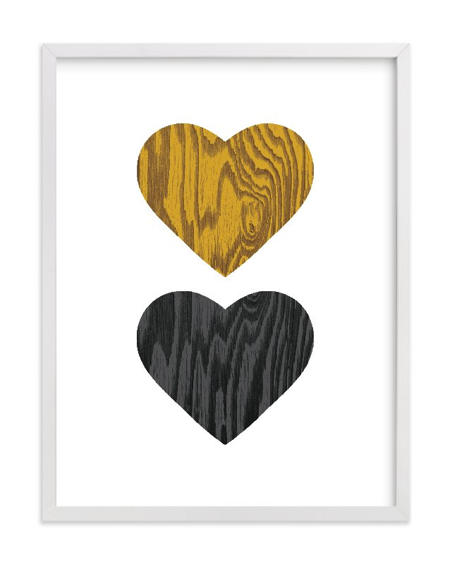 """Wood Grain Hearts"" - Limited Edition Art Print by Max and Bunny in beautiful frame options and a variety of sizes."