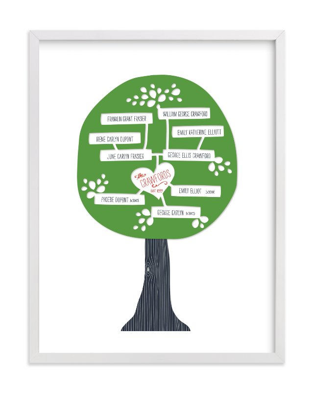 """Paper Tree Carving"" - Family Tree Custom Art Print by Alston Wise in beautiful frame options and a variety of sizes."