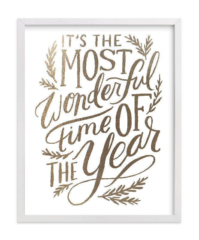 """Most Wonderful Time"" - Foil-pressed Art Print by Alethea and Ruth in beautiful frame options and a variety of sizes."