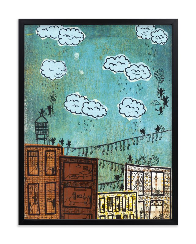 """Cityscape Robbers"" - Art Print by erin mcgill in beautiful frame options and a variety of sizes."
