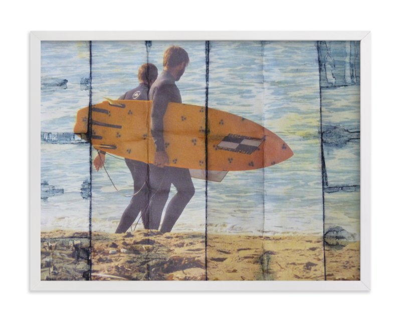 """2 Indigo Surfers, Orange Board"" - Art Print by Annie Seaton in beautiful frame options and a variety of sizes."