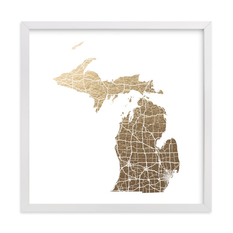 Michigan Map FoilPressed Wall Art By GeekInk Design Minted - Micigan map