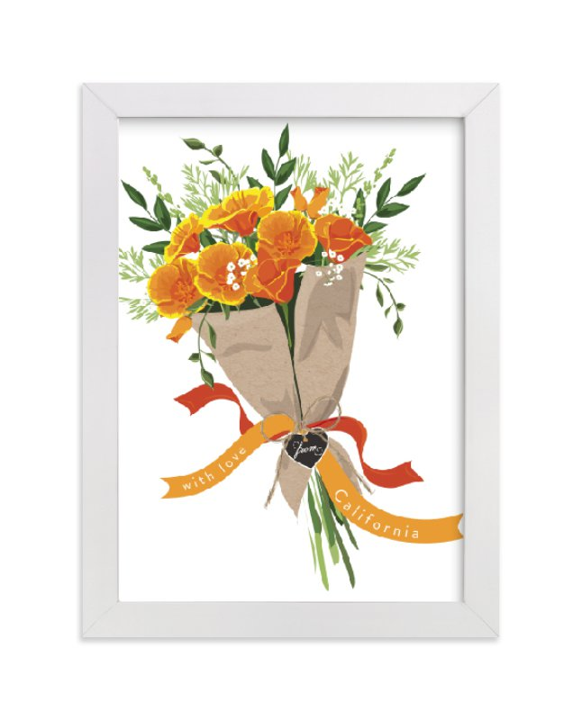 """""""California Poppy Bouquet"""" - Art Print by Susan Moyal in beautiful frame options and a variety of sizes."""