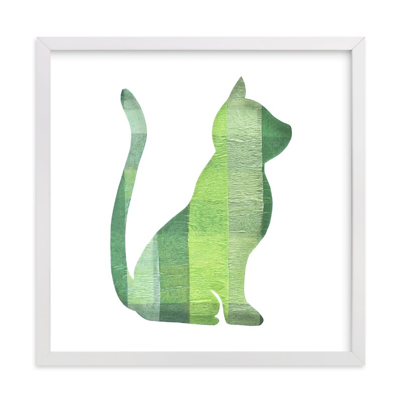 """Green Party Kitty"" - Art Print by Jeff Preuss in beautiful frame options and a variety of sizes."