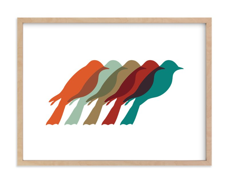"""Mod Birds"" - Art Print by Jennifer Morehead in beautiful frame options and a variety of sizes."