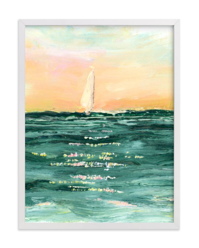 """Sail at Sunset"" - Art Print by Lindsay Megahed in beautiful frame options and a variety of sizes."