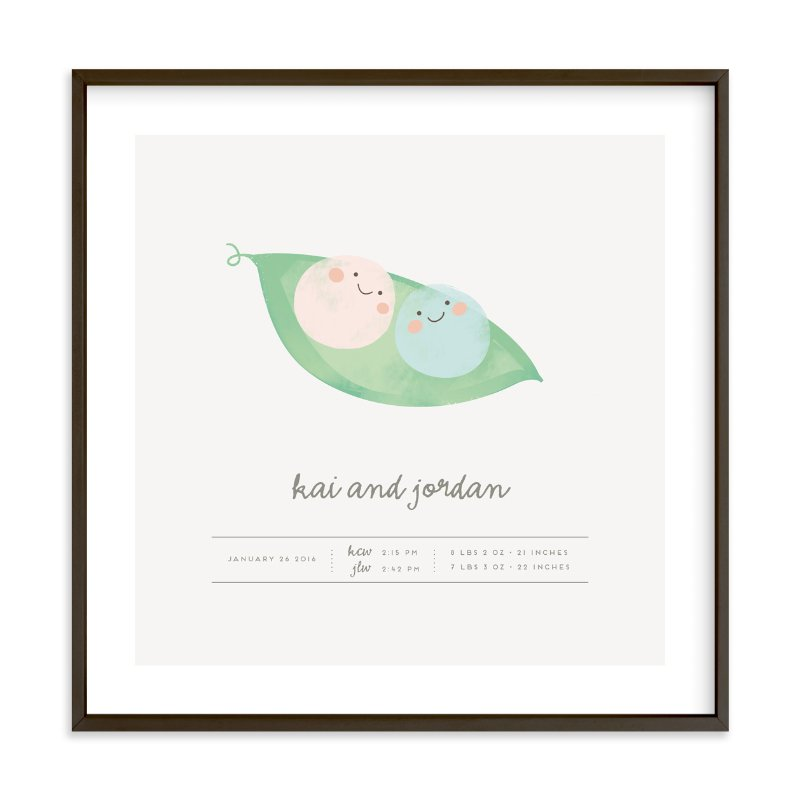 """Sweet Peas"" - Children's Custom Art Print by Lori Wemple in beautiful frame options and a variety of sizes."