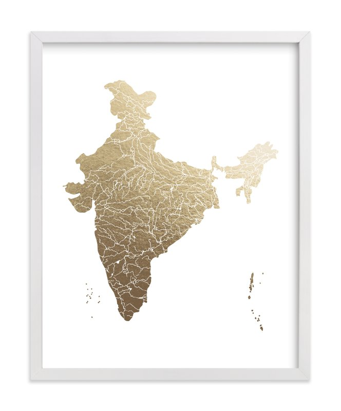 """""""India Map"""" - Foil-pressed Art Print by Jorey Hurley in beautiful frame options and a variety of sizes."""