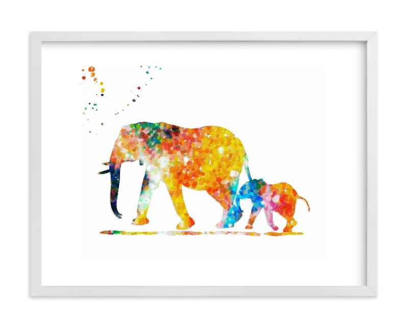 """Elephant Mom & Baby "" - Art Print by Alex Isaacs Designs in beautiful frame options and a variety of sizes."