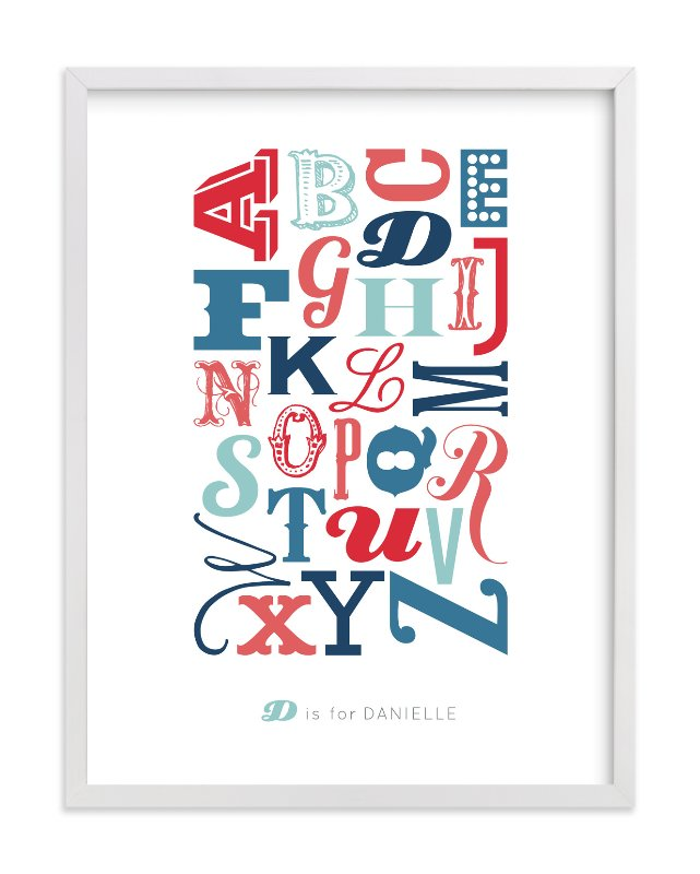 """Know Your Letters"" - Children's Custom Art Print by Studio Blixa 6 in beautiful frame options and a variety of sizes."