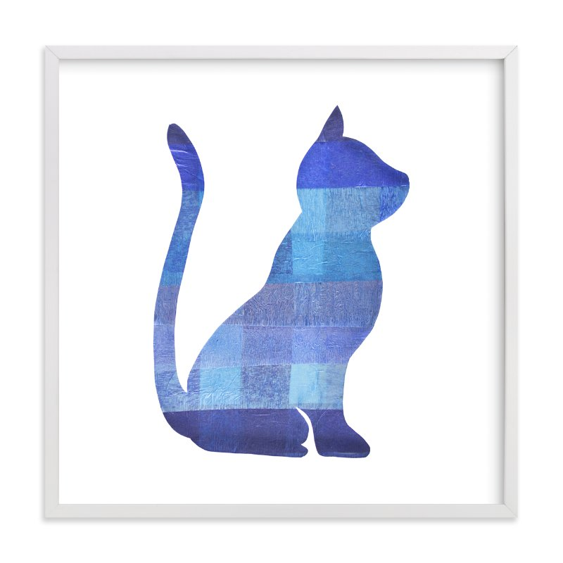 """Blue Party Kitty"" - Art Print by Jeff Preuss in beautiful frame options and a variety of sizes."