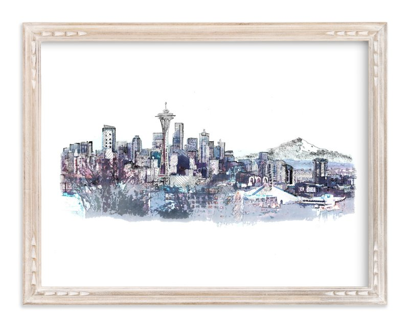 """Seattle Skyline"" - Art Print by van tsao in beautiful frame options and a variety of sizes."