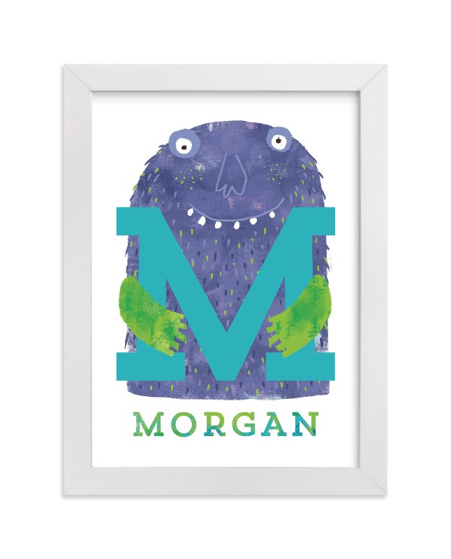 """INITIAL MONSTER"" - Children's Custom Art Print by Evelline Andrya in beautiful frame options and a variety of sizes."