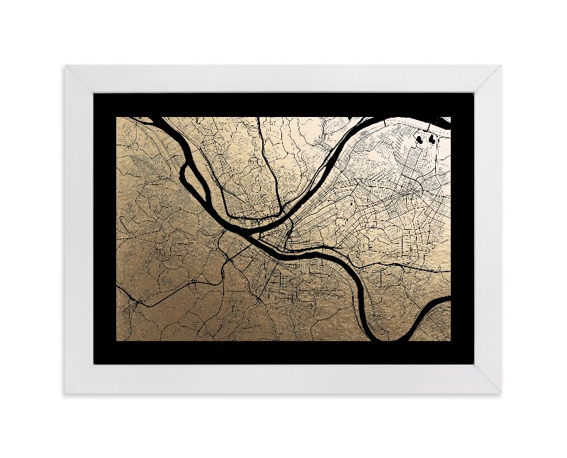 Pittsburgh Map Foil pressed Art Print by