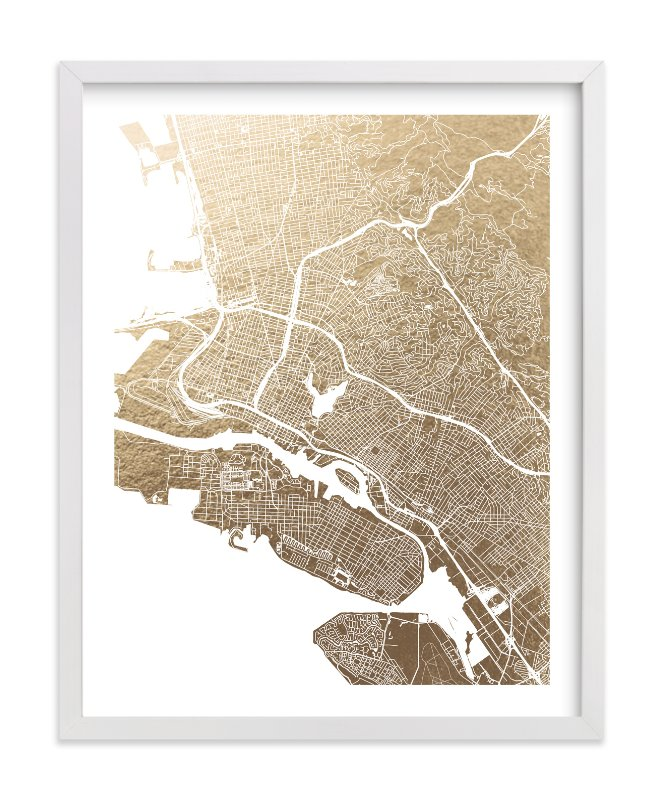 """East Bay Map"" - Foil-pressed Art Print by Alex Elko Design in beautiful frame options and a variety of sizes."