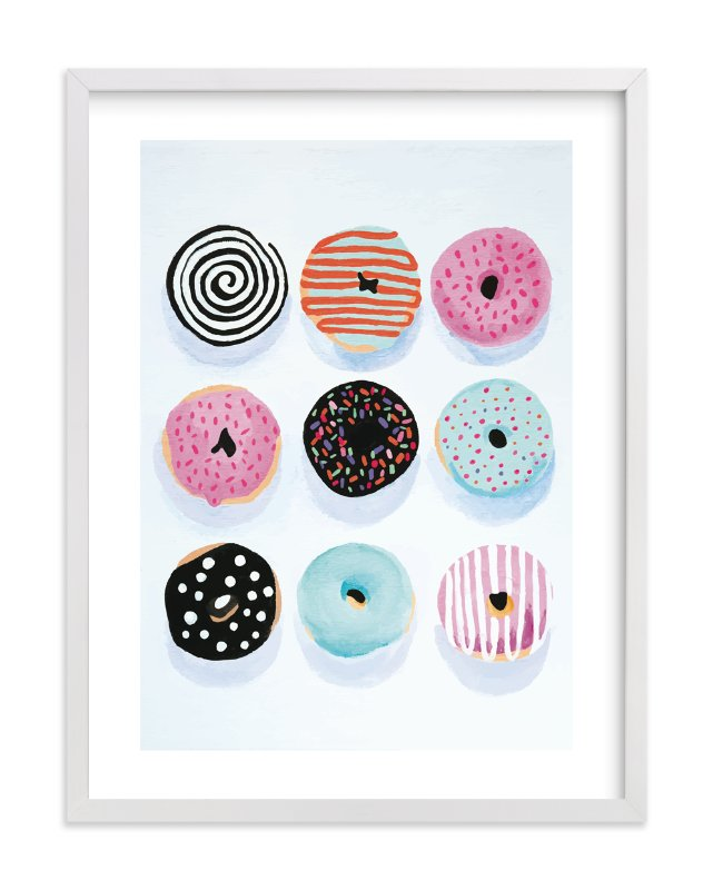 """""""Pop Donuts"""" - Limited Edition Art Print by Julia Devine in beautiful frame options and a variety of sizes."""