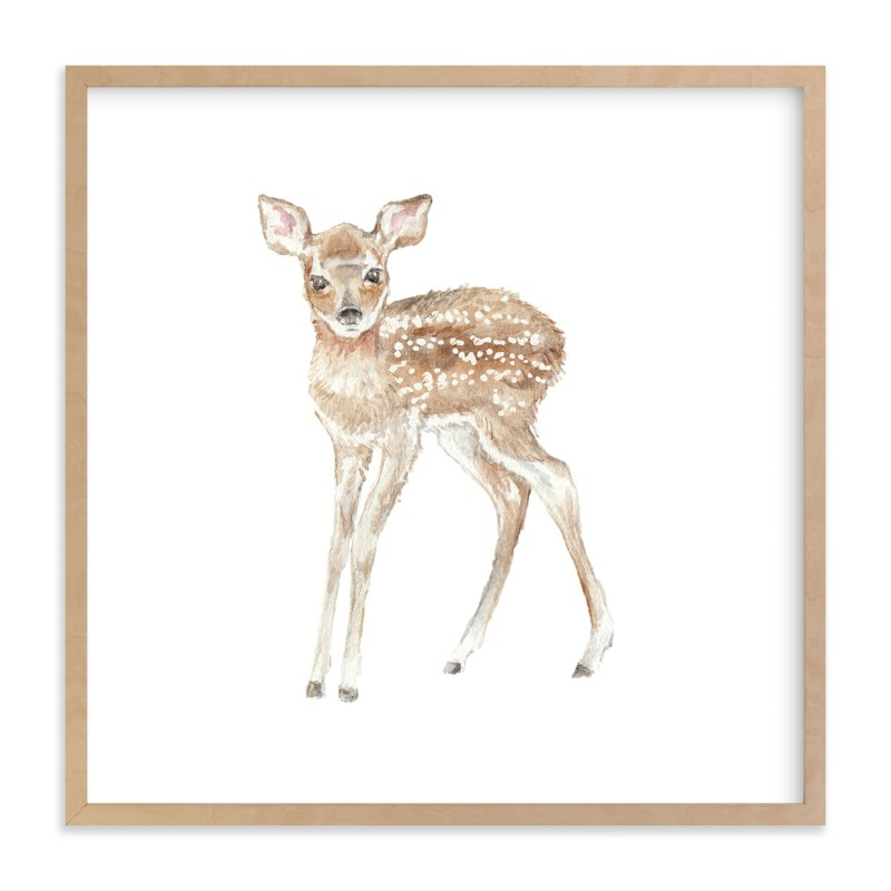 """""""watercolor fawn"""" - Art Print by Lauren Rogoff in beautiful frame options and a variety of sizes."""