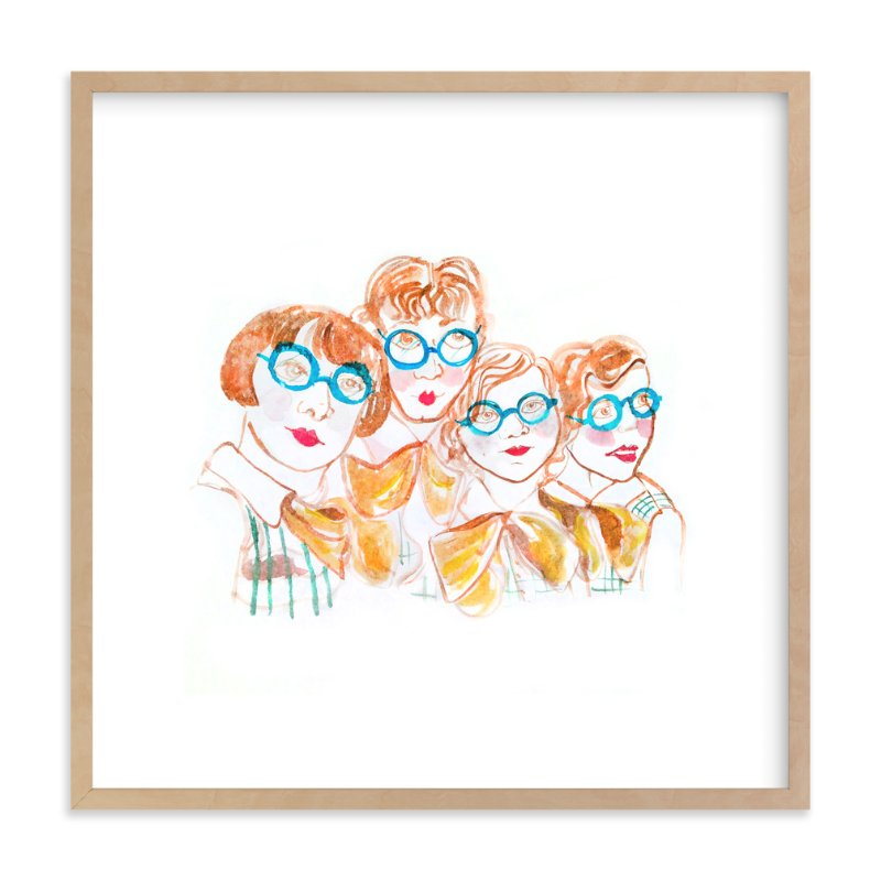 """Glasses Girls"" - Art Print by June Letters Studio in beautiful frame options and a variety of sizes."