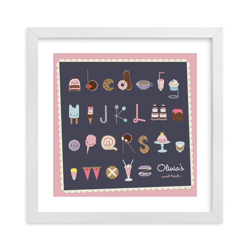 """""""Sweet Treats Alphabet"""" - Nursery Custom Art Print by Frooted Design in beautiful frame options and a variety of sizes."""