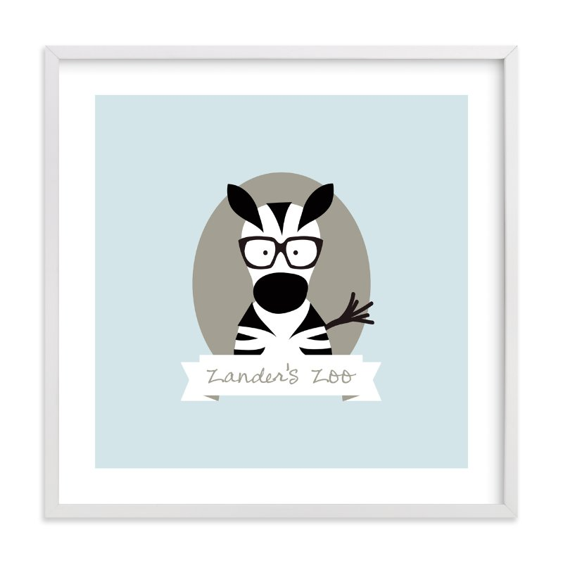 """Zander's Zoo"" - Nursery Custom Art Print by feb10 design in beautiful frame options and a variety of sizes."
