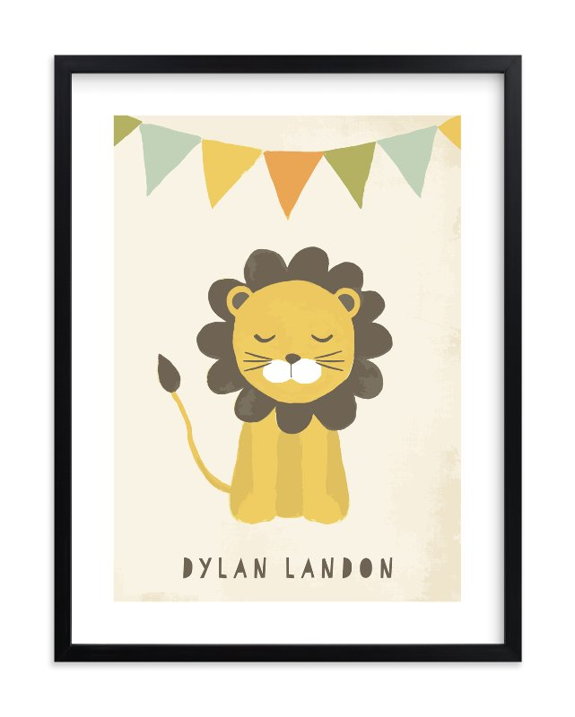 """""""Sleepy Lion"""" - Children's Custom Art Print by August and Oak in beautiful frame options and a variety of sizes."""