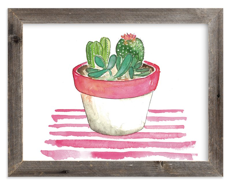 """The Stripped Cactus"" - Art Print by Kelsey McNatt in beautiful frame options and a variety of sizes."
