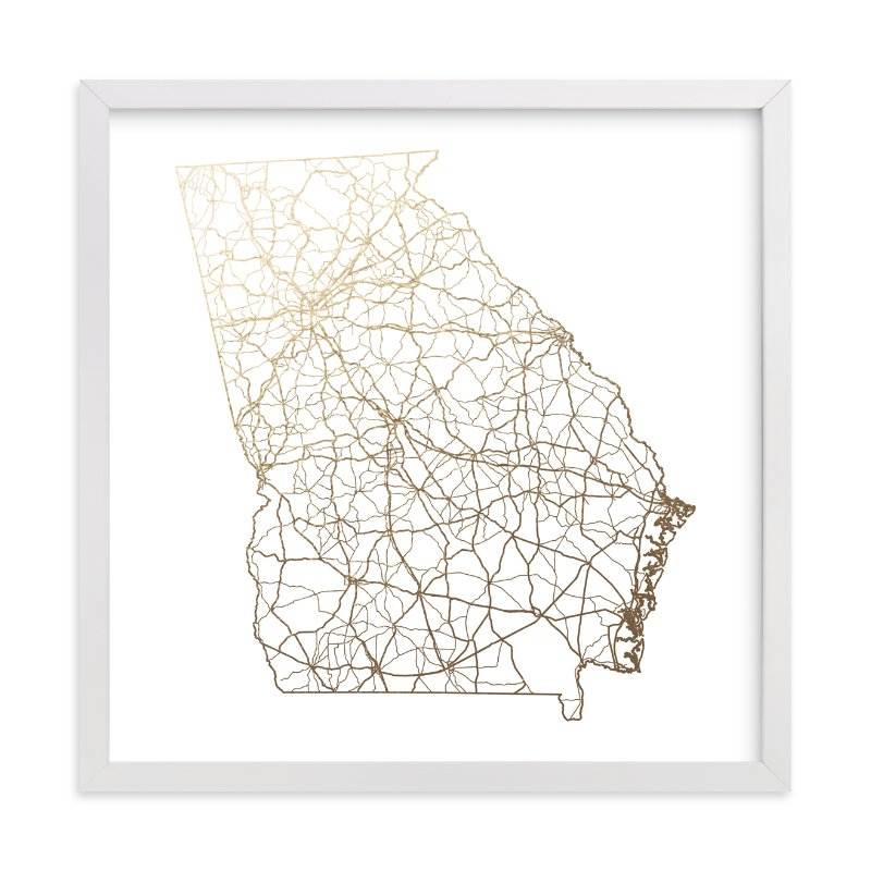 """Georgia Map"" - Foil-pressed Art Print by GeekInk Design in beautiful frame options and a variety of sizes."