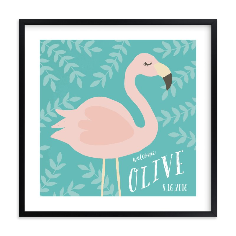 """Flamingo"" - Children's Custom Art Print by August and Oak in beautiful frame options and a variety of sizes."