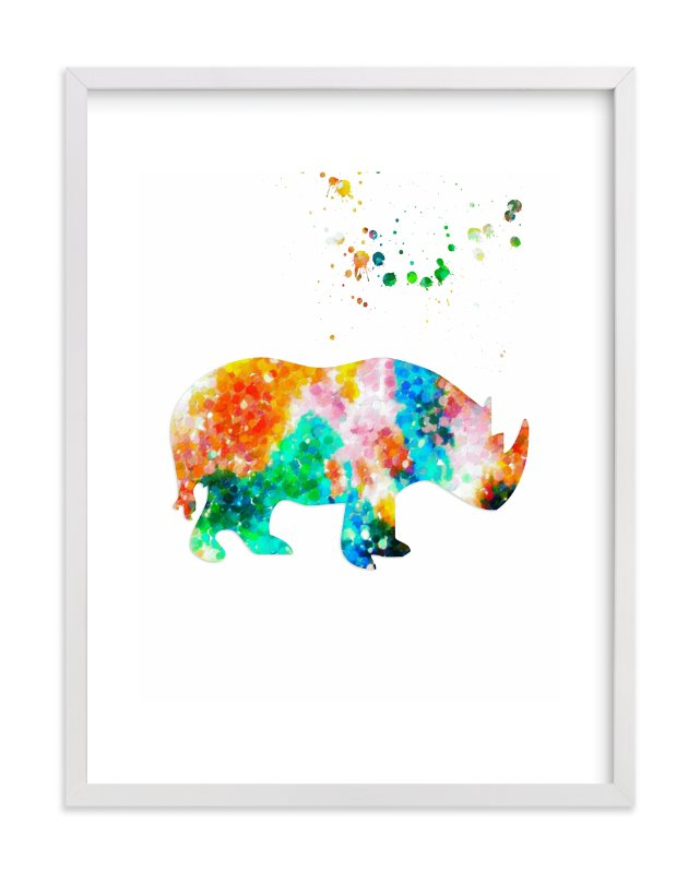 """Hello Rhino!"" - Art Print by Alex Isaacs Designs in beautiful frame options and a variety of sizes."