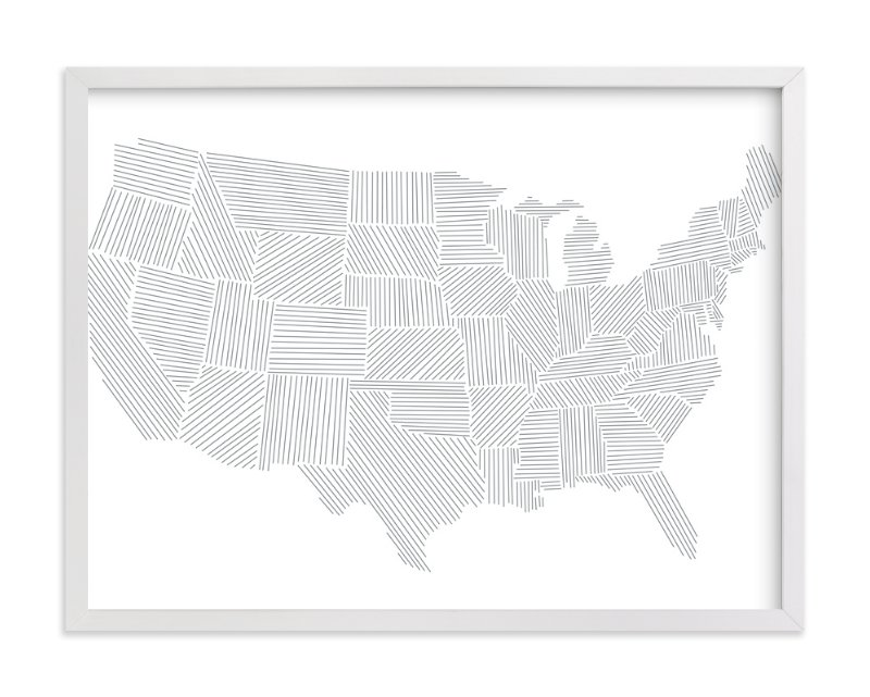 """Modern American Map"" - Art Print by Jessie Steury in beautiful frame options and a variety of sizes."