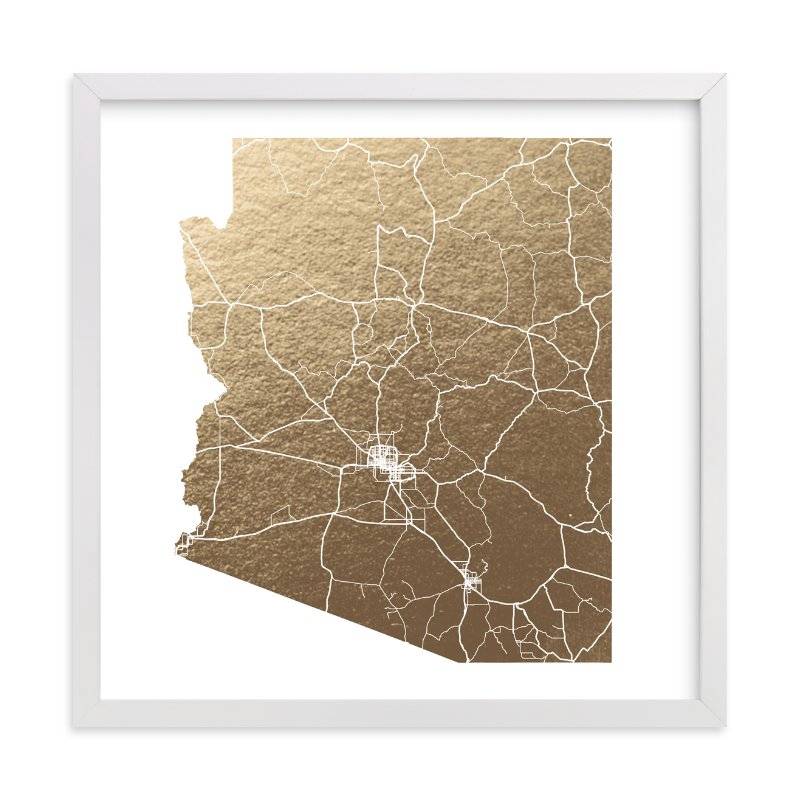 """""""Arizona Map"""" - Foil-pressed Art Print by GeekInk Design in beautiful frame options and a variety of sizes."""