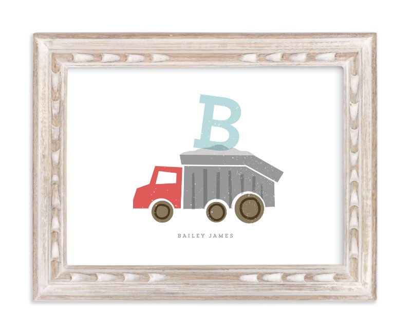"""Alphabet truck"" - Children's Custom Art Print by Stacey Meacham in beautiful frame options and a variety of sizes."