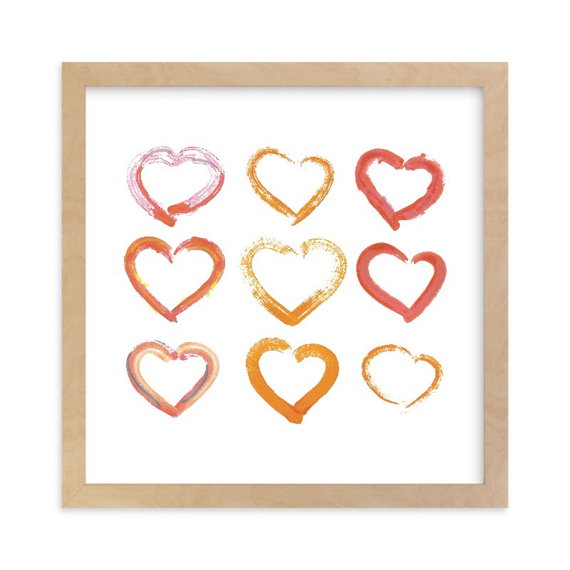 """""""Lovely Hand-Drawn Watercolor Hearts"""" - Limited Edition Art Print by Alexandra Dzh in beautiful frame options and a variety of sizes."""