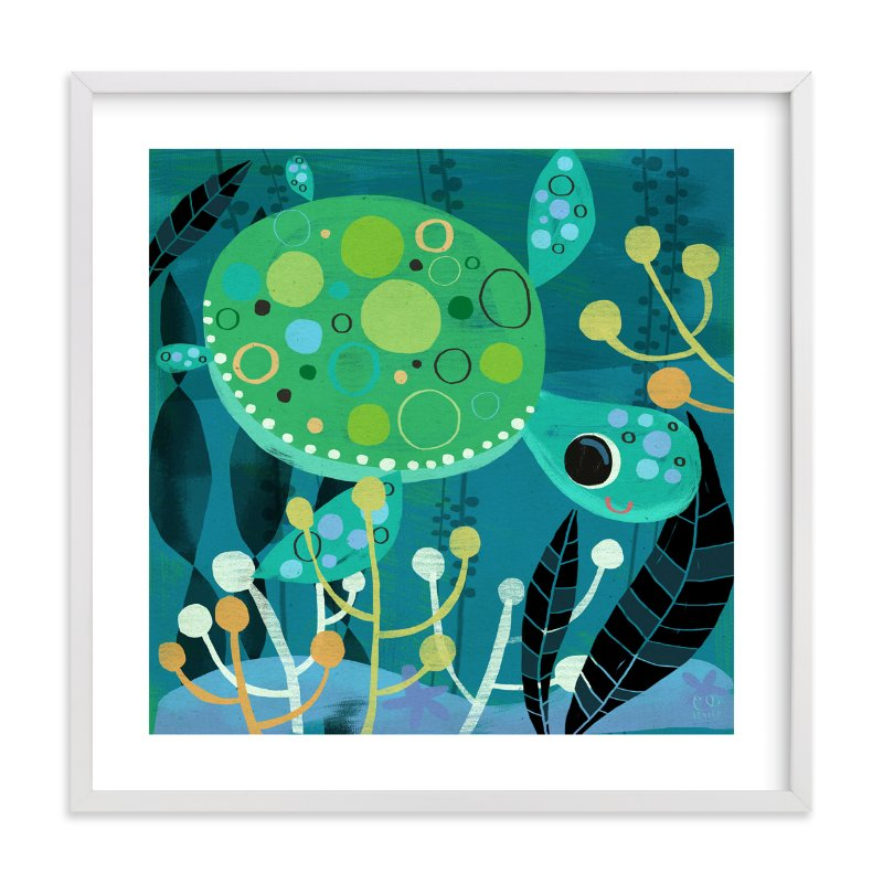 """Under the Sea-Turtle"" - Art Print by Chris Lensch in beautiful frame options and a variety of sizes."