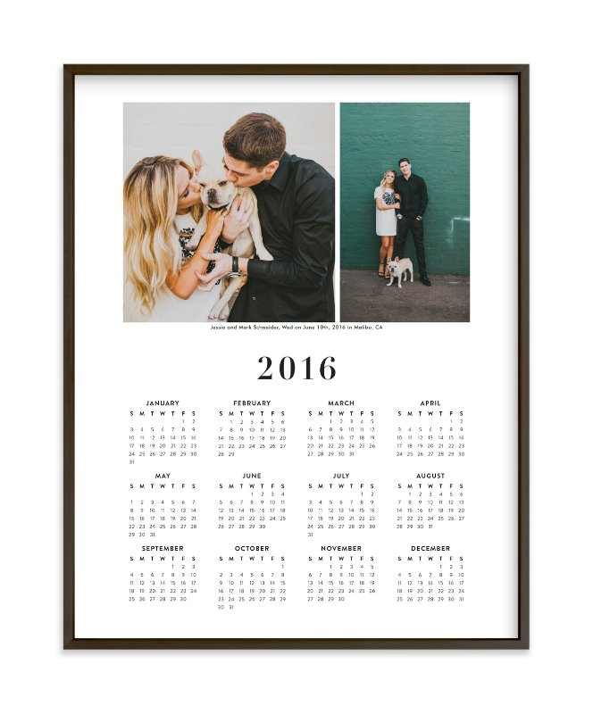 """Wedding Photo Calendar (Two Photo)"" - Custom Photo Art Print by Minted in beautiful frame options and a variety of sizes."