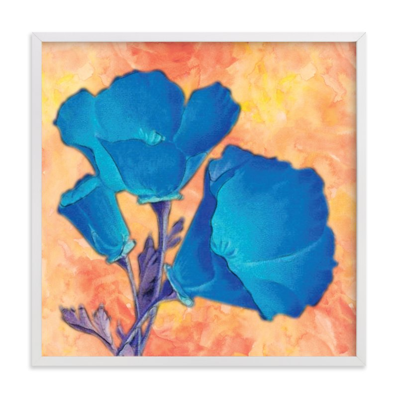 """""""Blue Poppies"""" - Art Print by Debb W in beautiful frame options and a variety of sizes."""