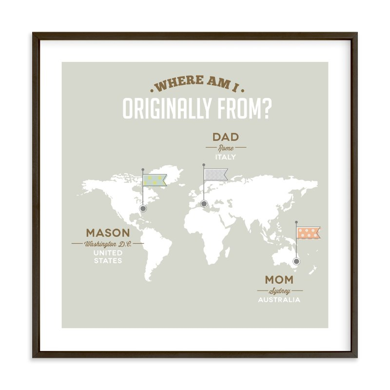 """Where Am I From?"" - Children's Custom Art Print by Yooli Lee in beautiful frame options and a variety of sizes."