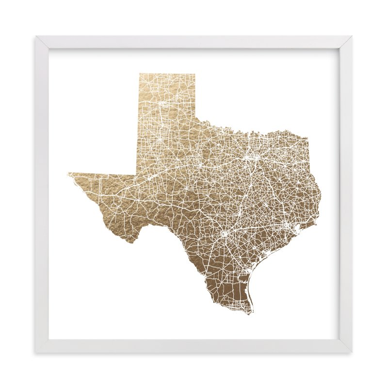"""""""Texas Map Filled"""" - Foil-pressed Art Print by GeekInk Design in beautiful frame options and a variety of sizes."""