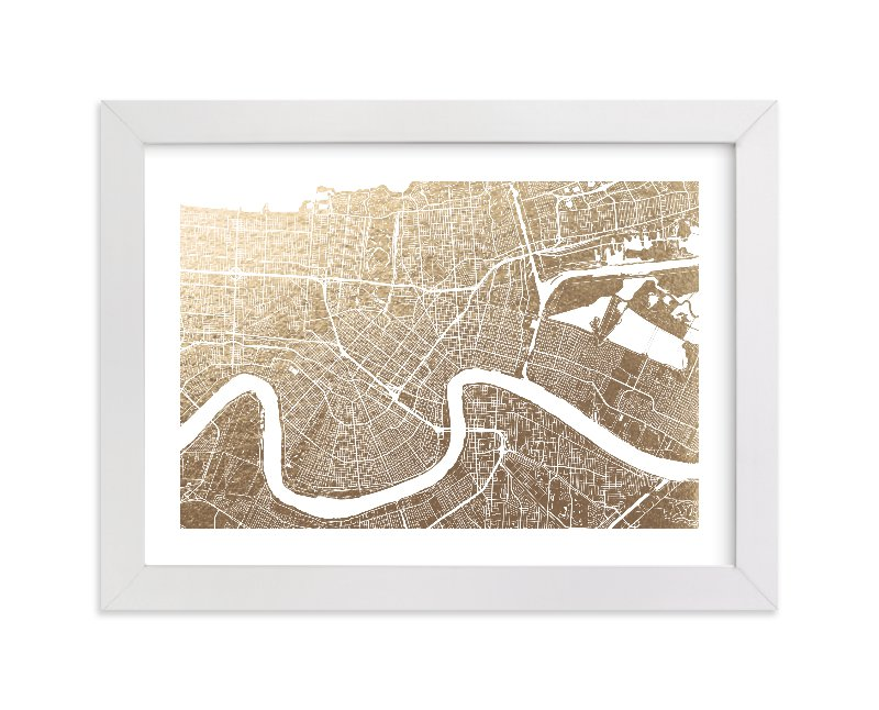 """New Orleans Map"" - Foil-pressed Art Print by Alex Elko Design in beautiful frame options and a variety of sizes."