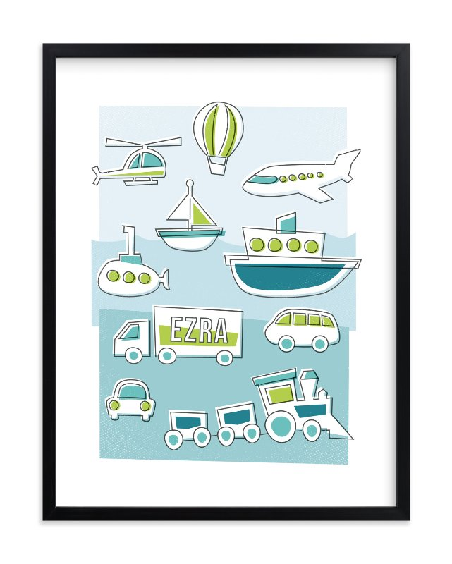 """""""Things That Go"""" - Children's Custom Art Print by Jessie Steury in beautiful frame options and a variety of sizes."""