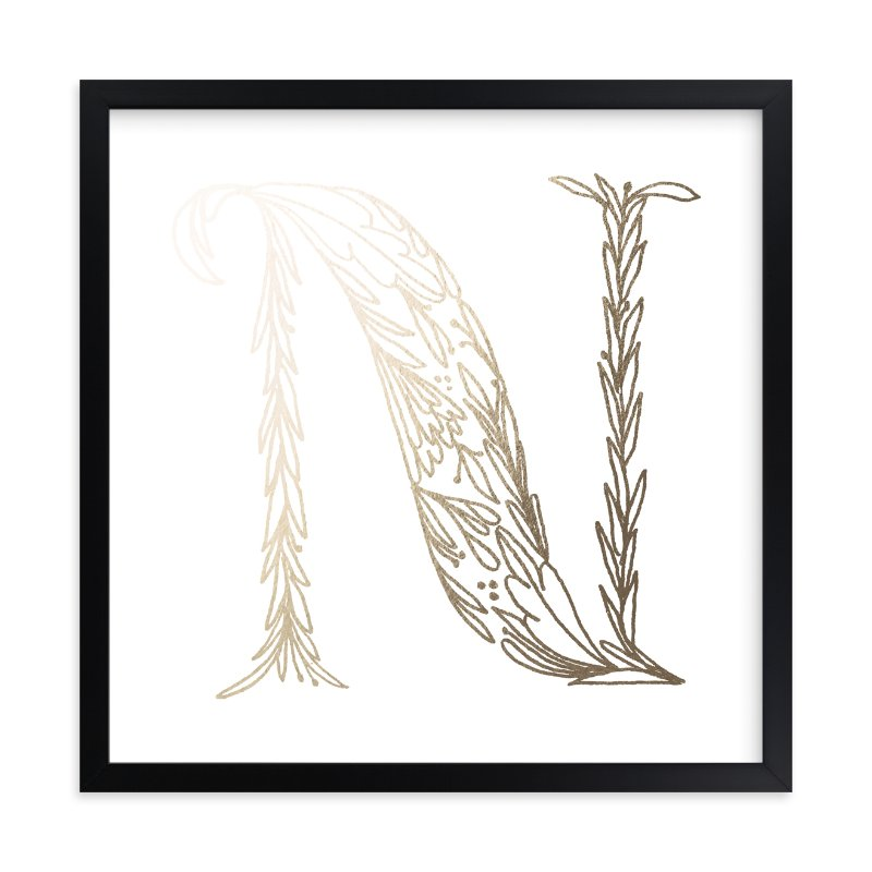"""""""Botanical N"""" - Foil-pressed Art Print by Grace Kreinbrink in beautiful frame options and a variety of sizes."""