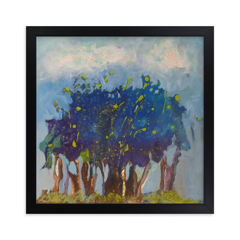 """""""Notre petite forêt bleue"""" - Art Print by Johanne Roy in beautiful frame options and a variety of sizes."""