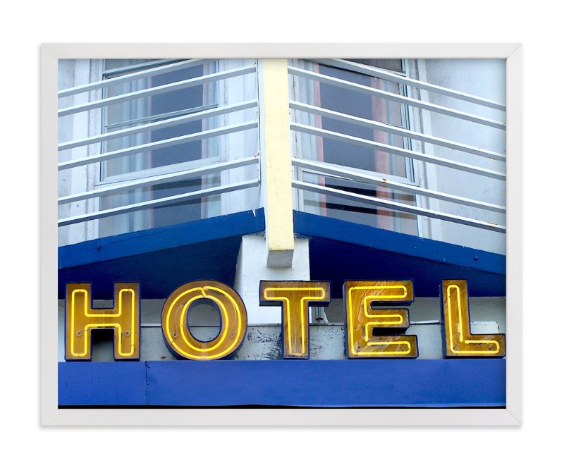 """Blue Hotel"" - Art Print by Jonathan Brooks in beautiful frame options and a variety of sizes."