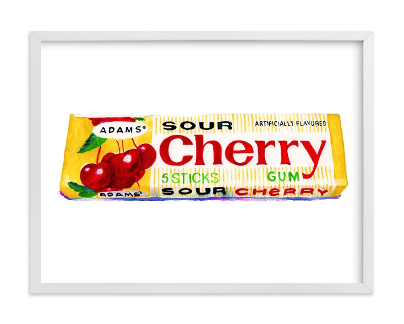 """Vintage Cherry Gum Pop Art"" - Art Print by Charlene Landry in beautiful frame options and a variety of sizes."