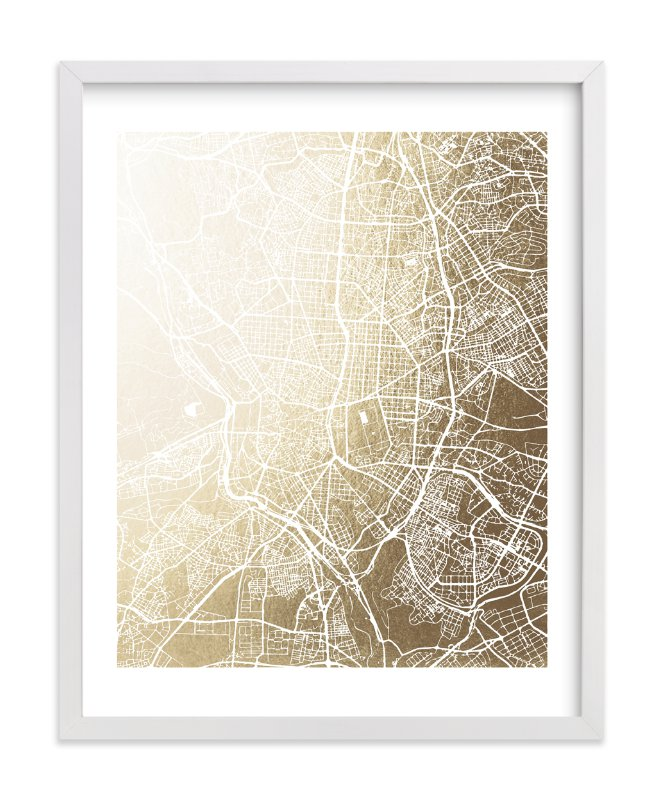 """Madrid Map"" - Foil-pressed Art Print by Melissa Kelman in beautiful frame options and a variety of sizes."